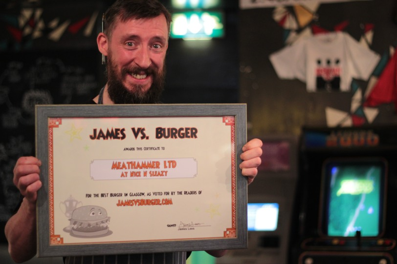 Chef Andrew Yates of MeatHammer Ltd receives his award at Nice N Sleazy, Jan 6th 2013