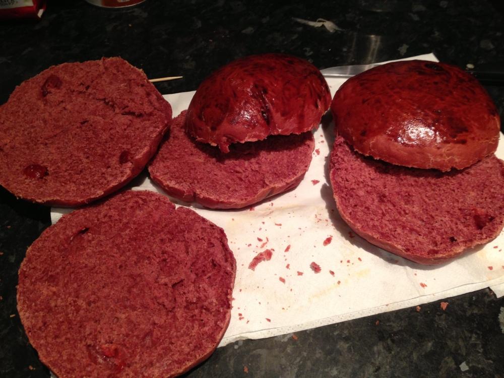 The cranberry, festive-coloured buns