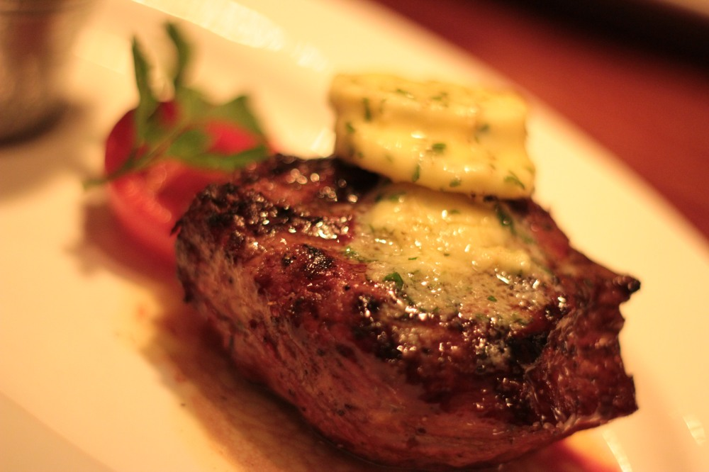 The Rump Steak with garlic butter