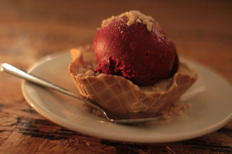 Peanut Butter parfair with jam sorbet