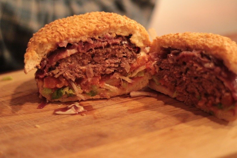 Inside the burger