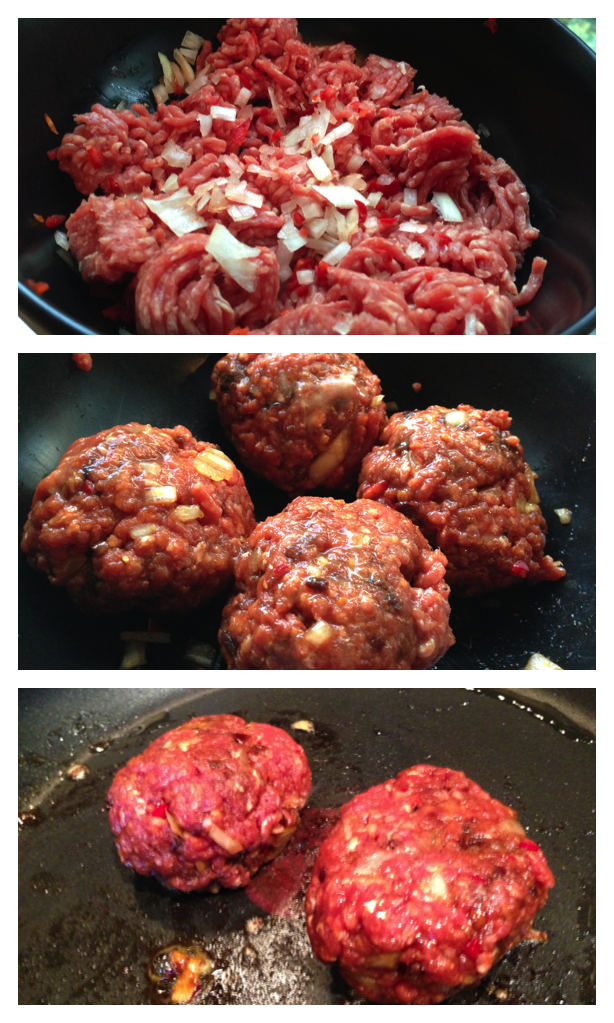 Ingredients (top), forming the patties (middle), cooking (bottom). CLICK TO ENLARGE.