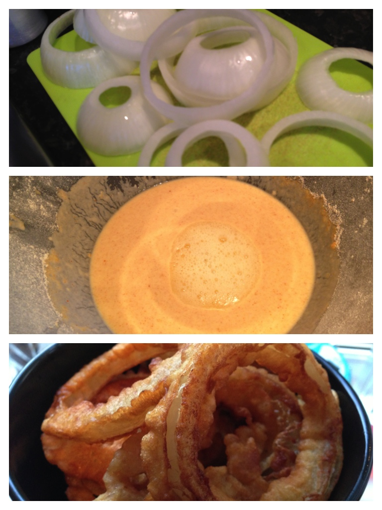 Chopping the onion rings (top), preparing the batter (middle), finished (bottom)