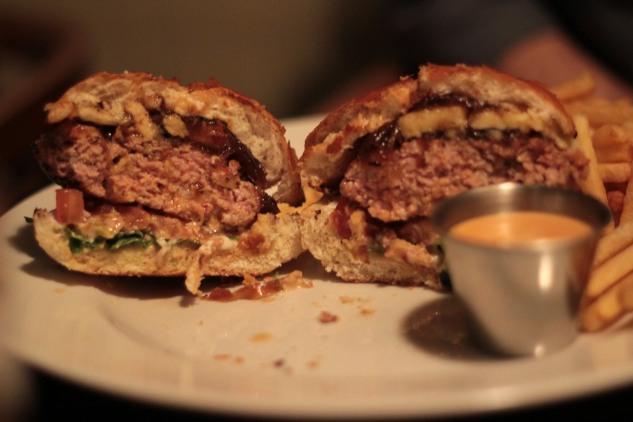 Inside the Pork & Chorizo Burger