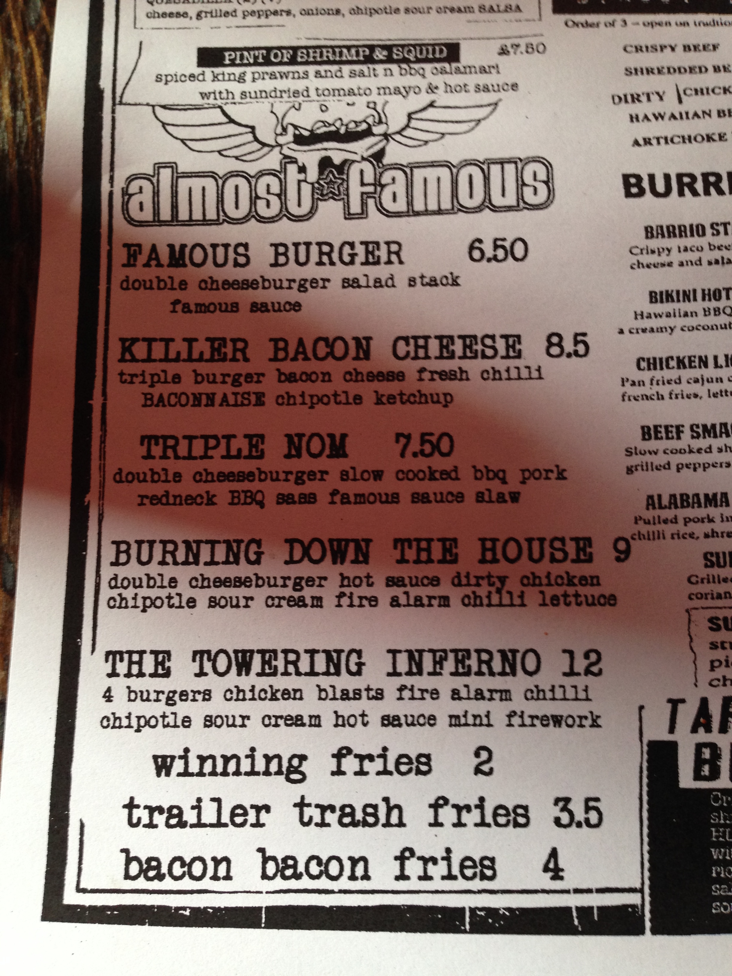 world tour  the killer bacon cheese  u2013 almost famous