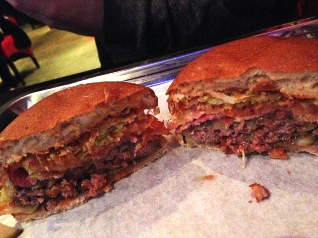 Inside the bacon cheeseburger