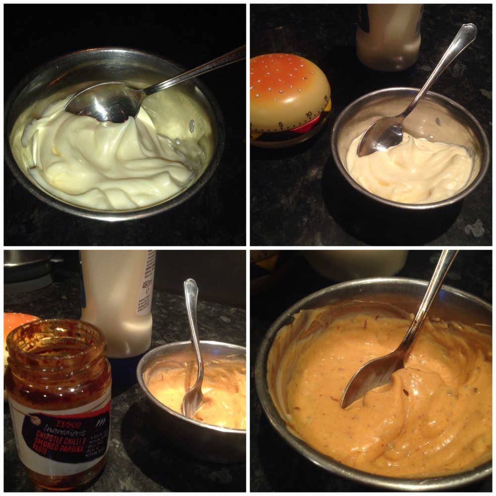 Preparing the chipotle mayo.