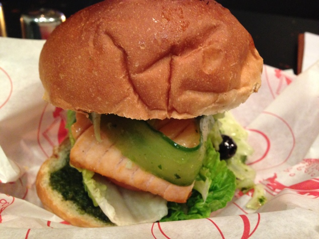 The Salmon Burger on a brioche bun.