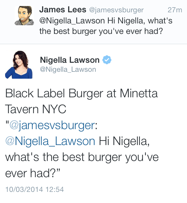 Nigella recommended the burger highly.