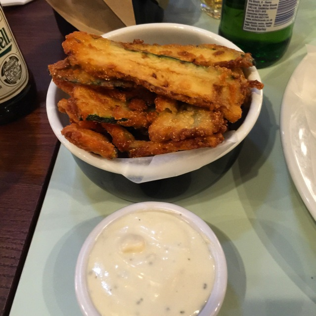 Courgette fries with a blue cheese dip