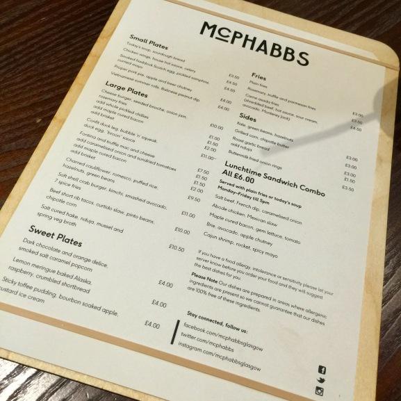 McPhabbs menu