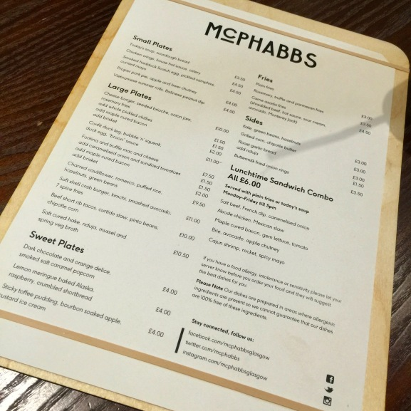 McPhabbs menu