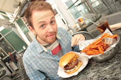James. And a burger.
