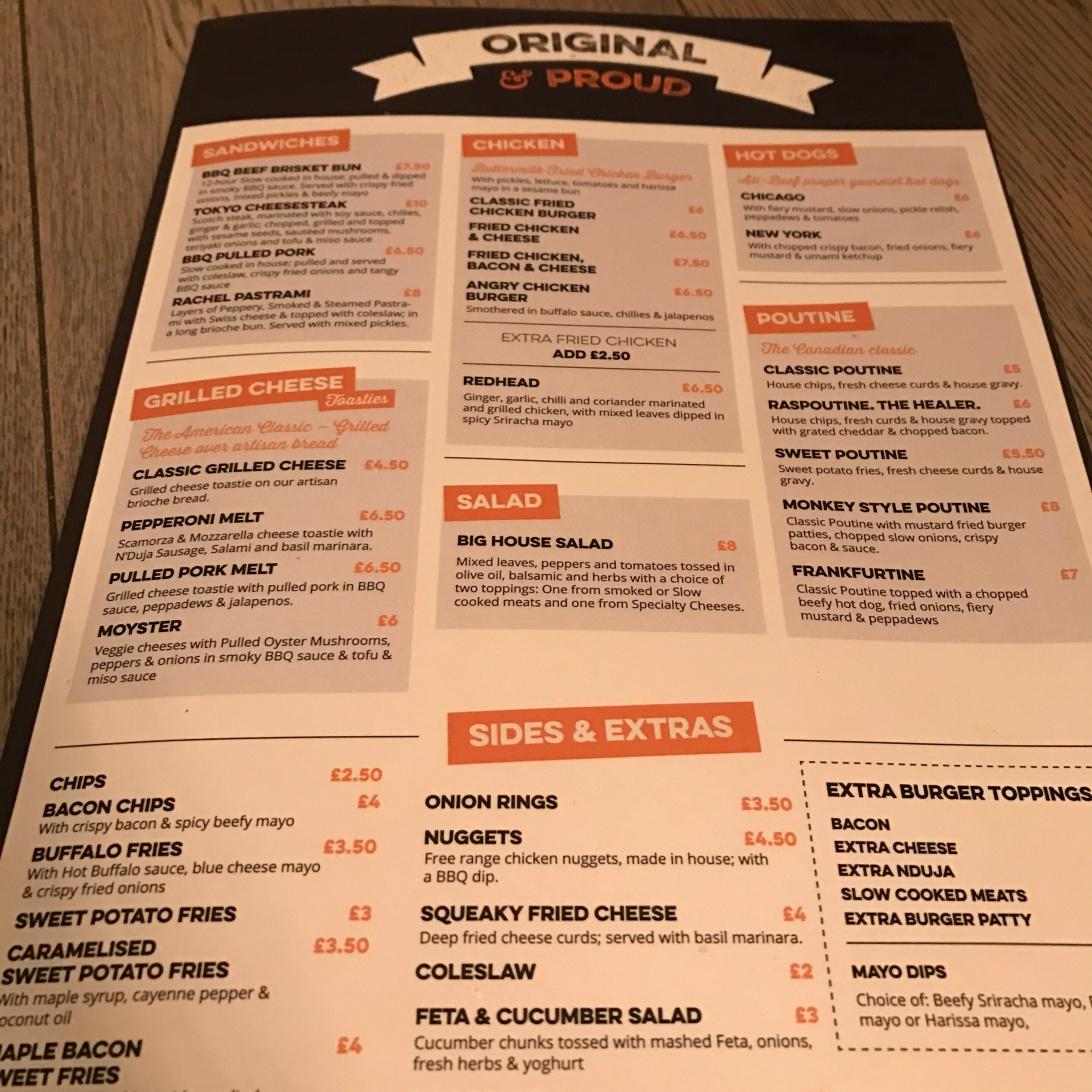 The new menu